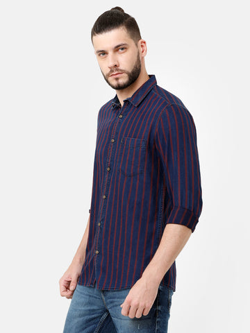 Blue Vertical Textured Shirt