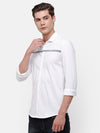 Men's White knitted Shirt with Stripe detail on chest