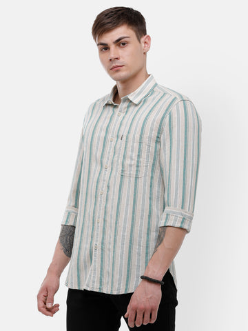 Men's Beige and green full sleeve casual stripe Shirt