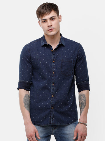 Men's Indigo, Navy blue full sleeve slim fit Shirt