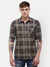 Men's Olive green and brown checks, casual Shirt