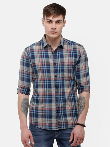 Men's Indigo blue and Pink casual full sleeve checks Shirt