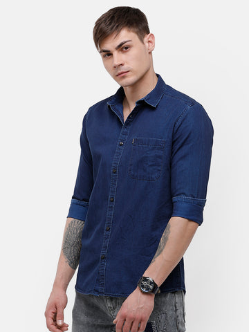 Men's Indigo full sleeve slim fit Shirt