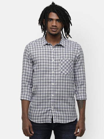 Men's Grey and white casual checks shirt