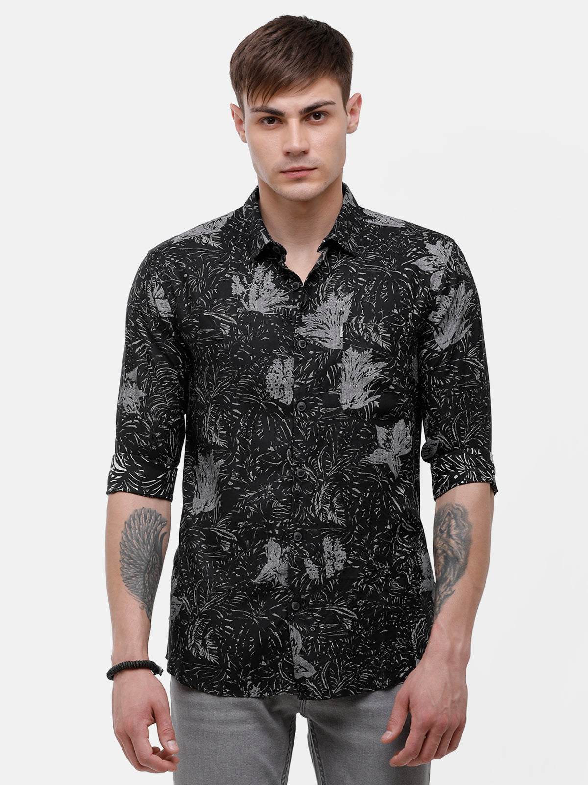 Men's Black and gray floral print casual shirt