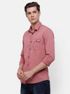 Men's Peach Pink solid Casual Shirt