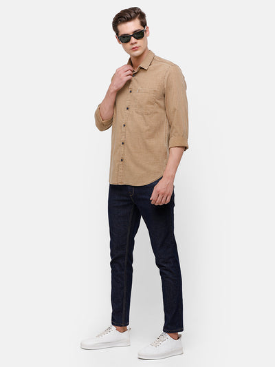 Men's Taupe textured casual Shirt