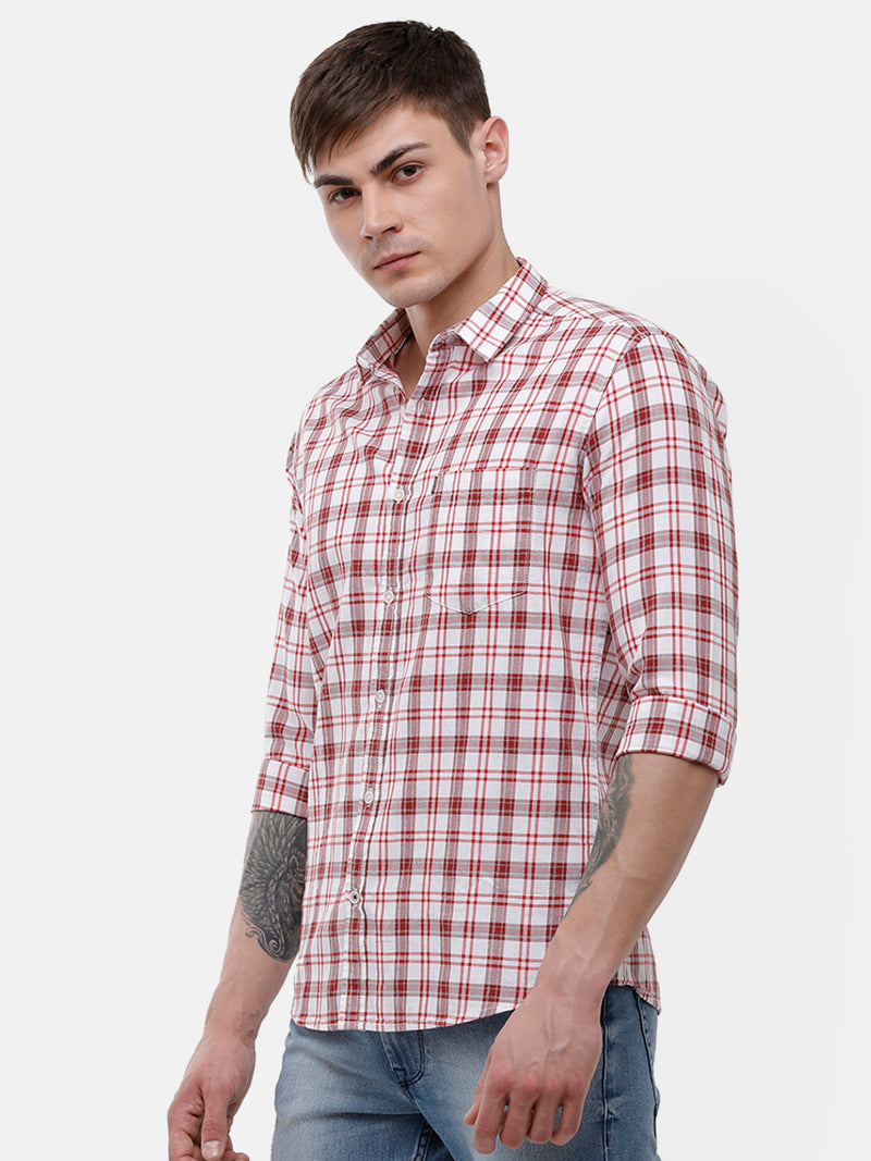Men's Red and white casual full sleeve checks Shirt