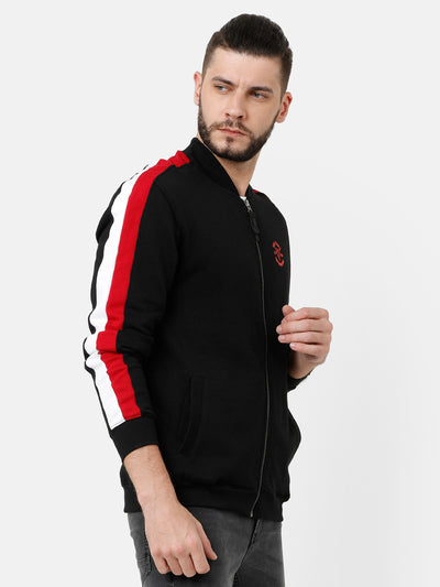 Black Sweatshirt with red and white sleeves