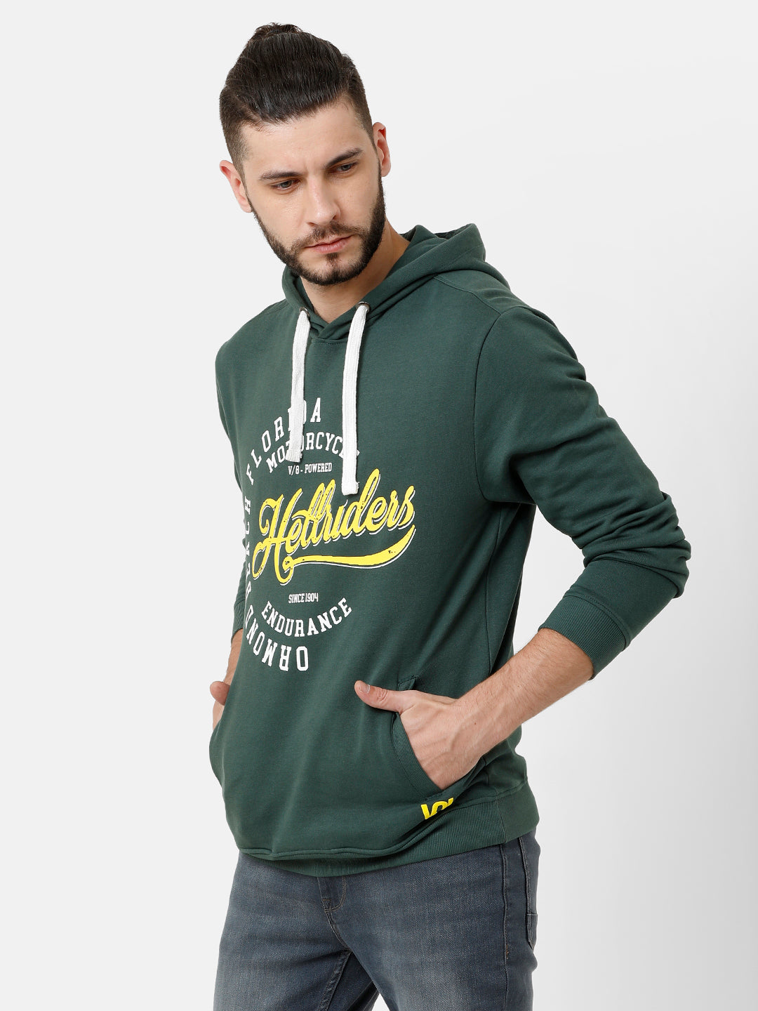Plain Green Sweatshirt with Graphic print