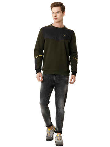 Olive Full-Sleeve Sweatshirt with Yellow Detail