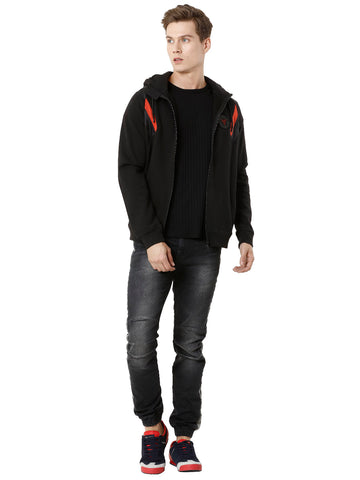 Black Zipper Sweatshirt with Red Detail