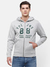 Men's Gray Sweatshirt with Hoodie and Chest Print
