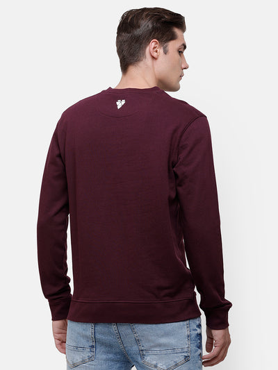 Men's Plum Sweatshirt with Embroidery on chest