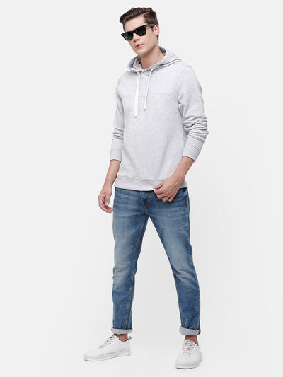 Men's Gray Sweatshirt with hoodie and Cut & Sew detail