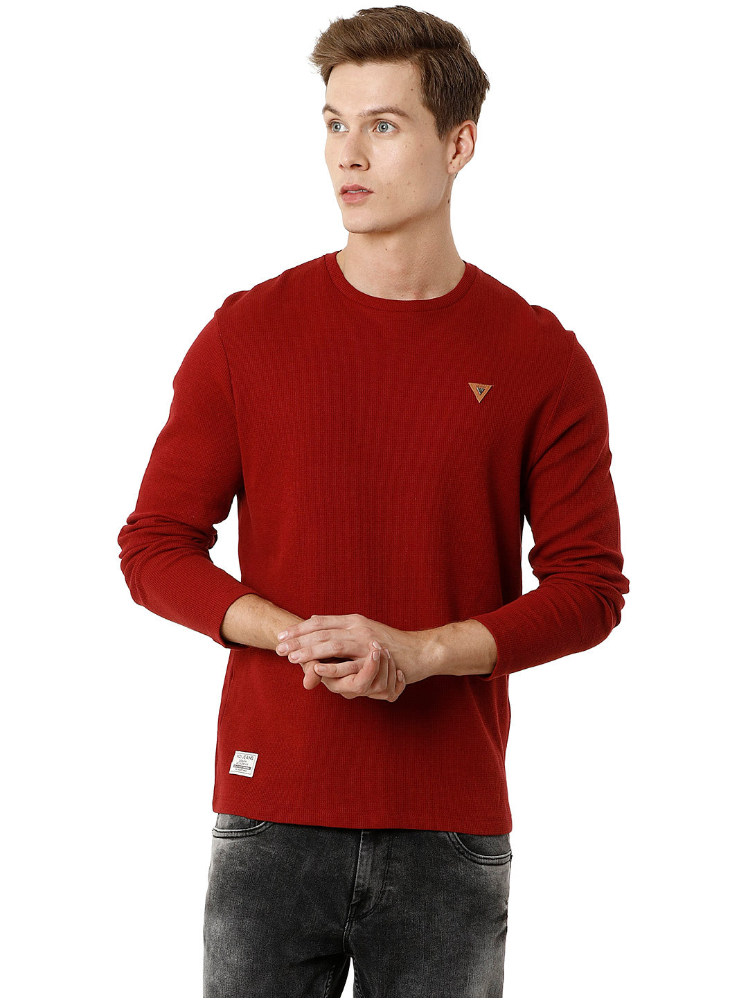 Red Full-Sleeve Waffle Texture Voi T-shirt