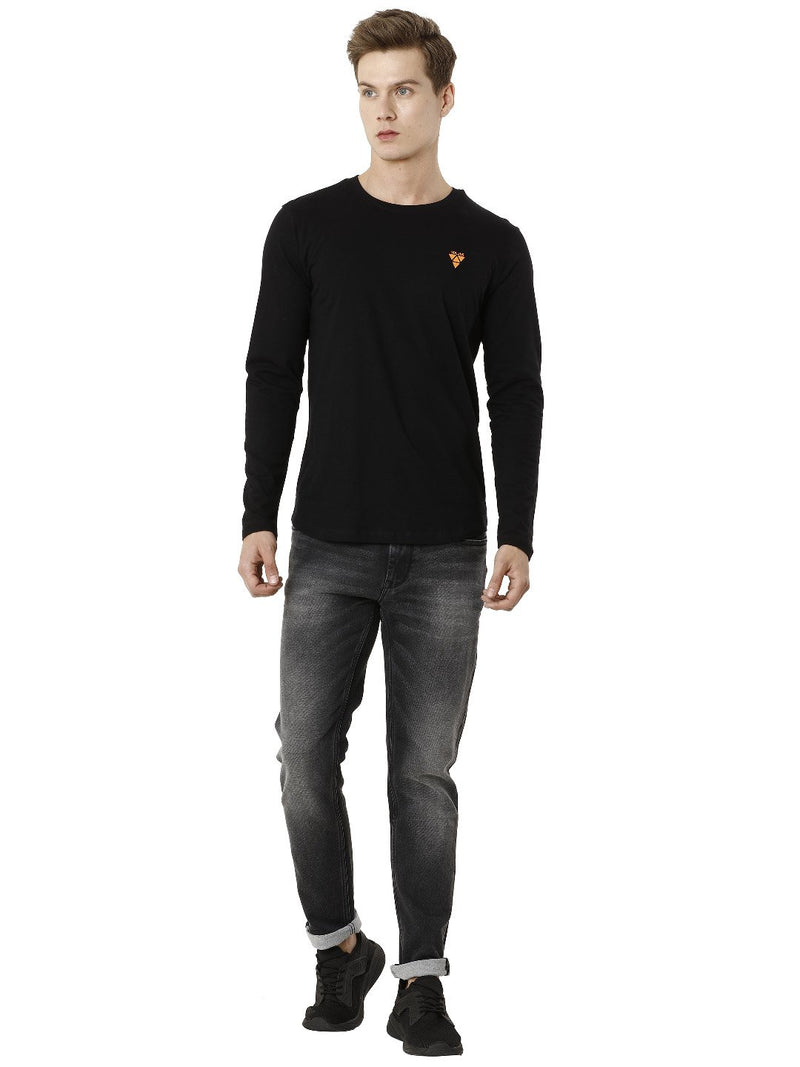 Black Full Sleeve Plain Men's T-shirt