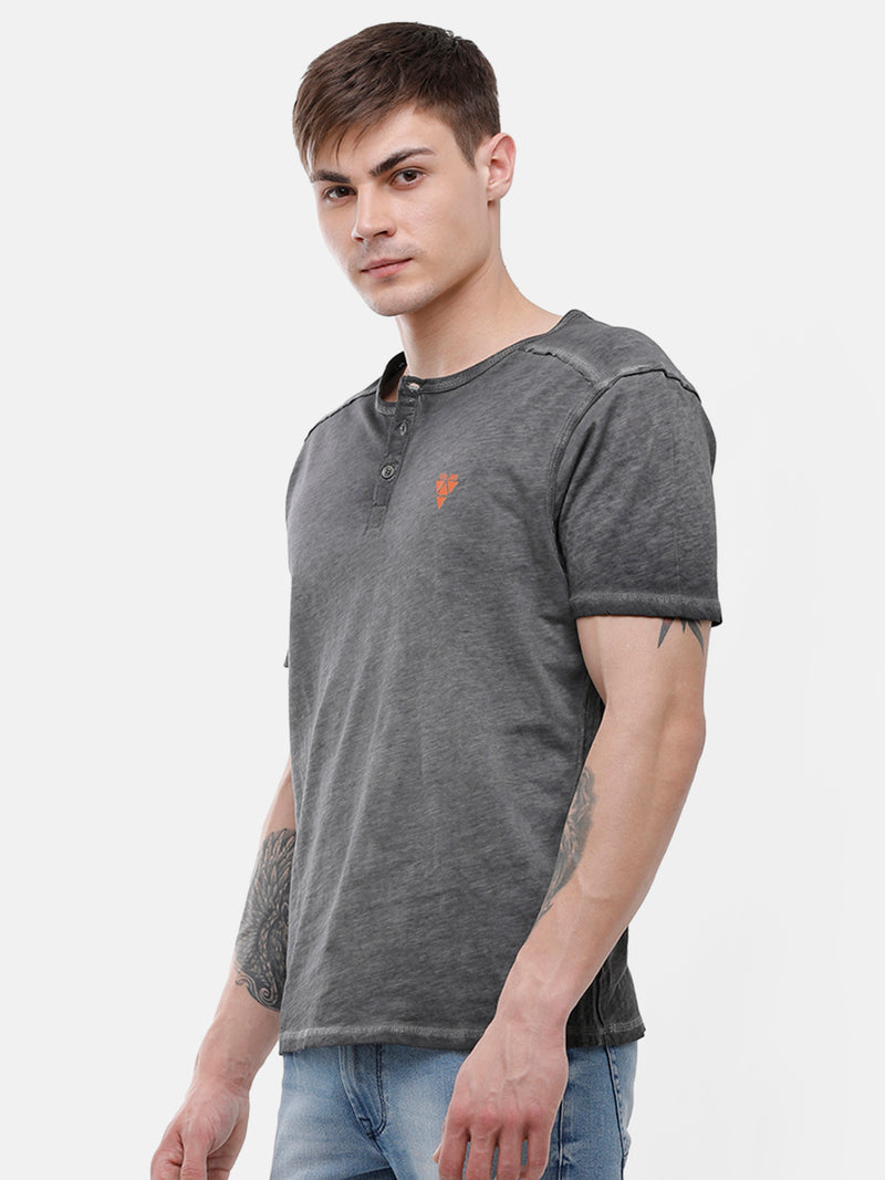 Men's Gray Henley, half sleeve T-shirt