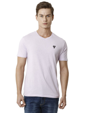 Light Pink V-Neck Men's Plain T-shirt
