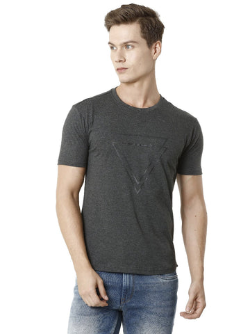 Charcoal Melange with Construction Detail Men's Half Sleeve T-shirt