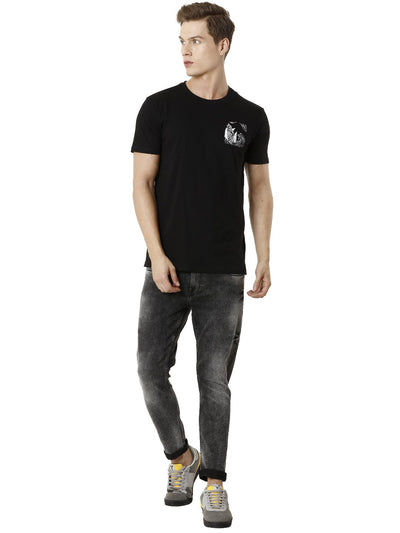 Pocket Printed Black Half Sleeve T-shirt - Men's Topwear