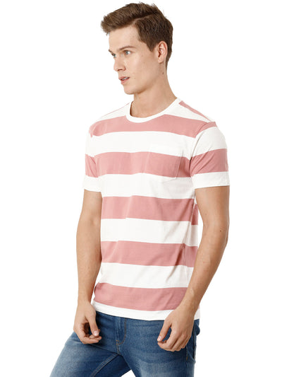 White and Pink Horizontal Striper Half-Sleeve T-shirt