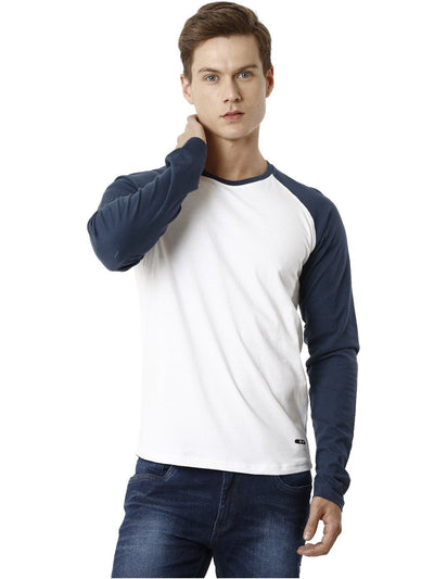 Blue and WHite Raglan Sleeve Men's Full Sleeve T-shirt