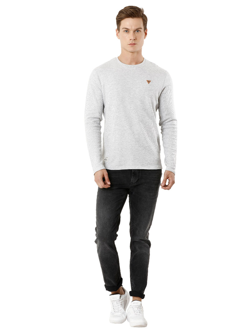 Grey Full-Sleeve Waffle Texture Voi T-shirt