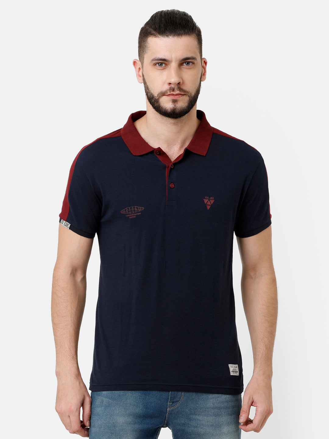 Navy blue and Red collar T-shirt