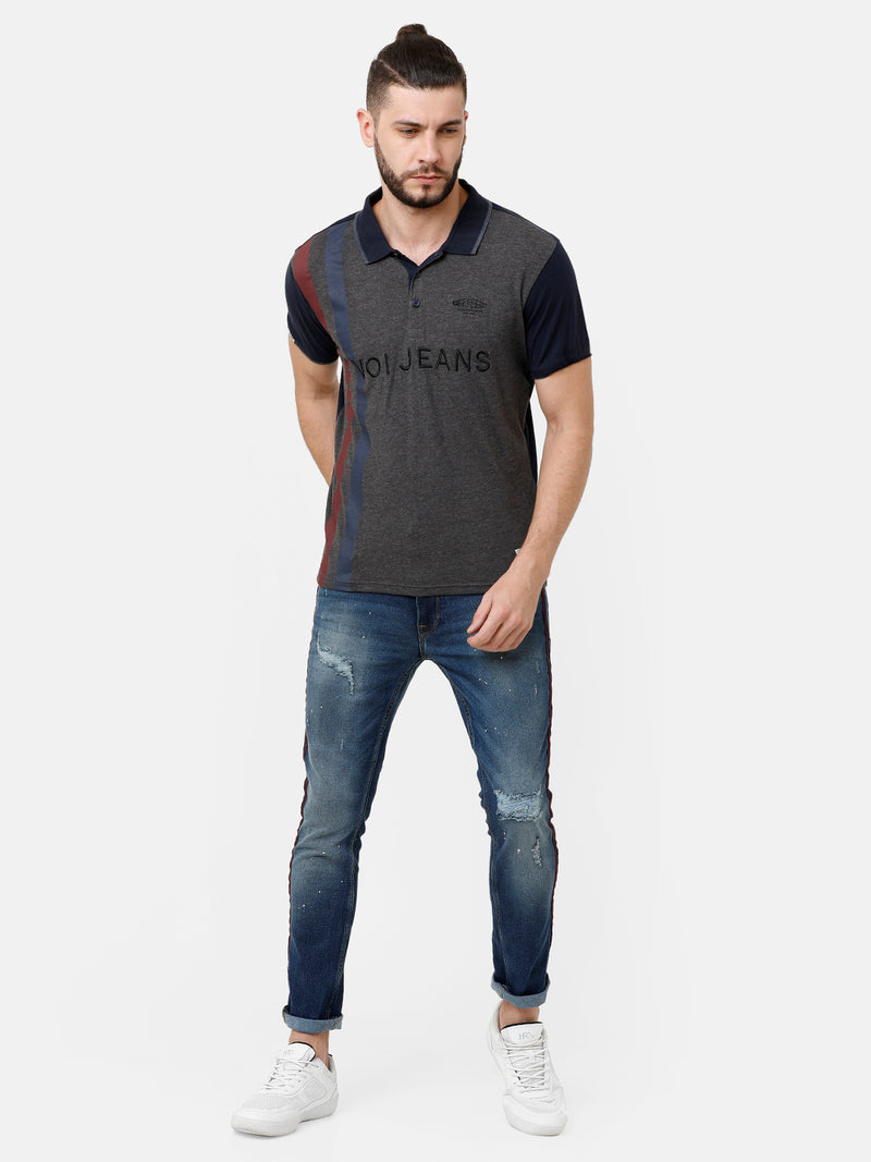 Grey Black Color Block T-shirt