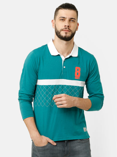 Polo Collar Cut And Sew Teal T-shirt