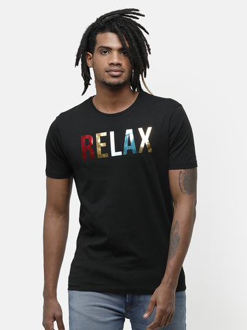 Black Printed Half Sleeve T-shirt
