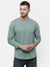 Men's Knitted round neck full sleeve light green T-shirt