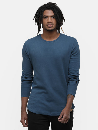 Men's Waffle, Teal green round neck Full Sleeve T-shirt
