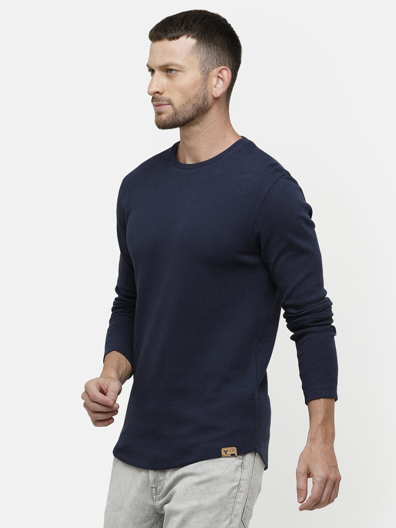 Men's Knitted round neck full sleeve Navy  T-shirt