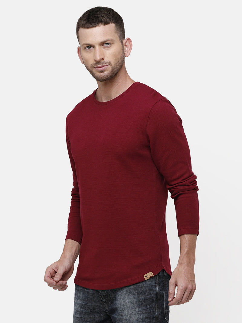 Men's Knitted round neck full sleeve maroon T-shirt