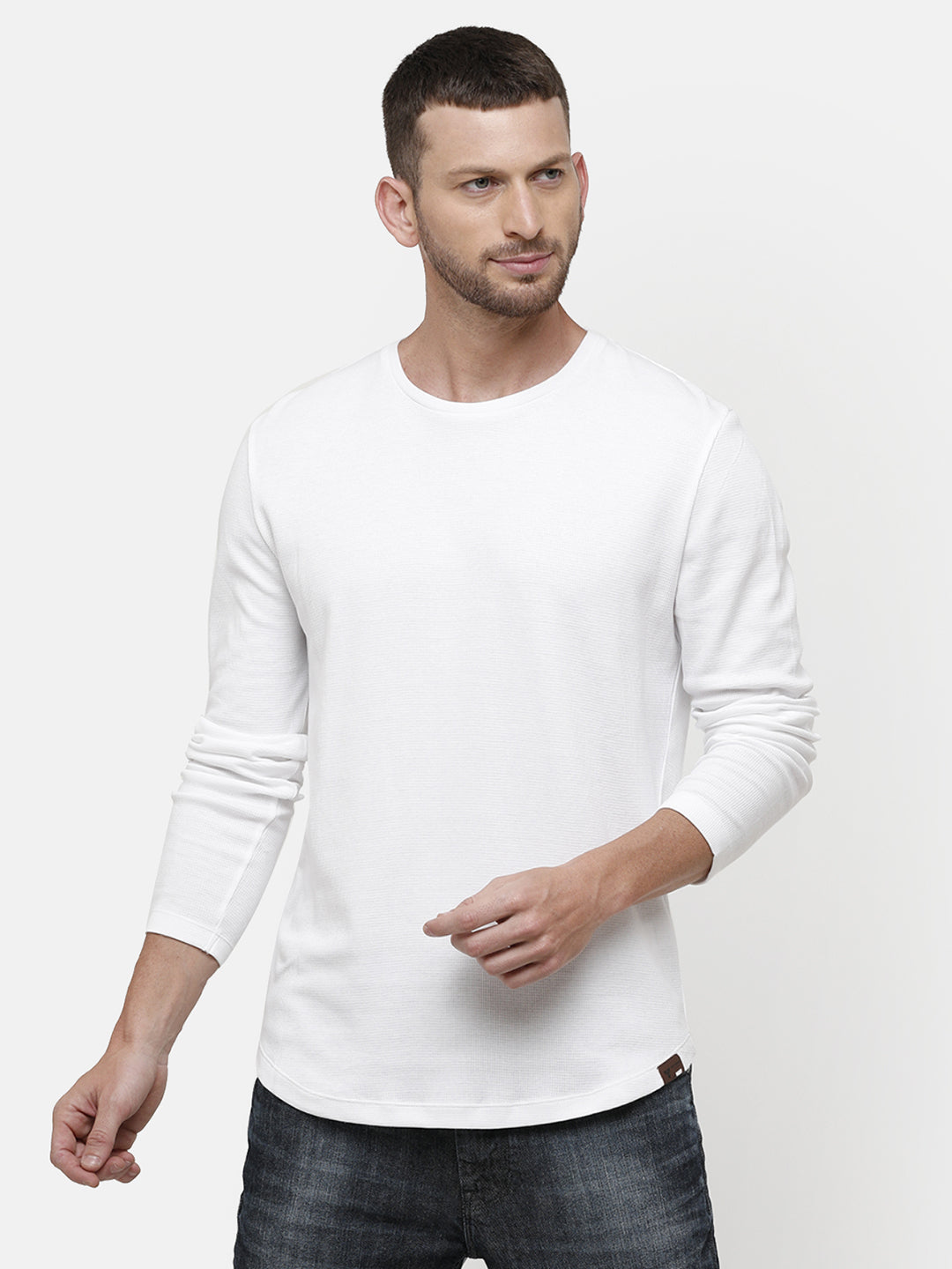 Men's Knitted round neck full sleeve white T-shirt