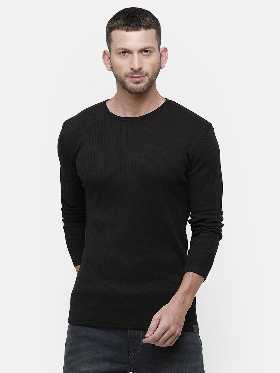 Men's Knitted round neck full sleeve Black T-shirt