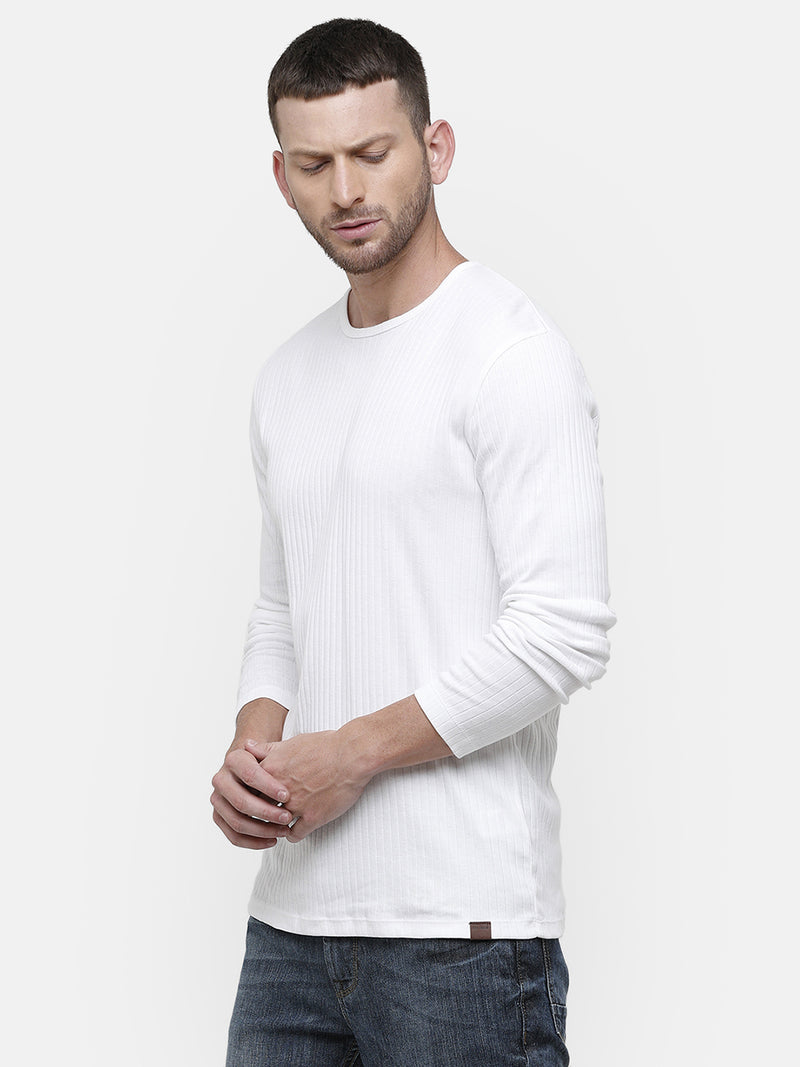 Men's White round neck full sleeve T-shirt