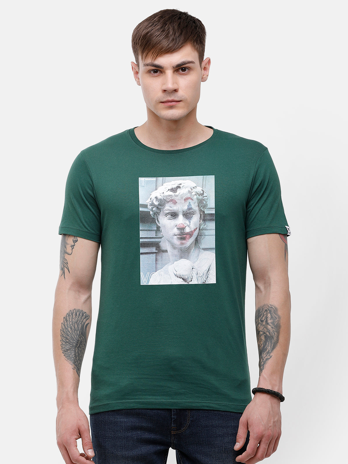 Men's Green, Chest print T-shirt