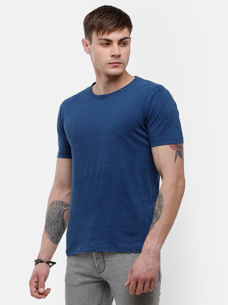 Men's Indigo blue half sleeve T-shirt