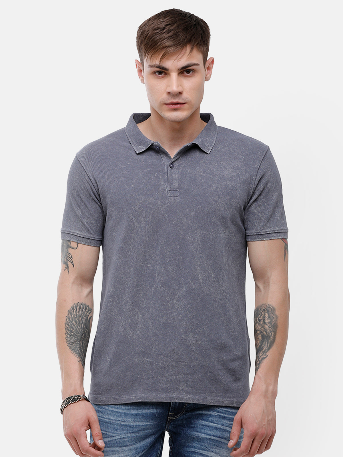 Men's Gray polo half sleeve T-shirt