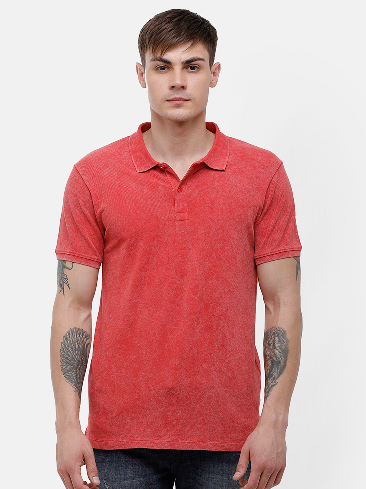 Men's Red polo, half sleeve T-shirt