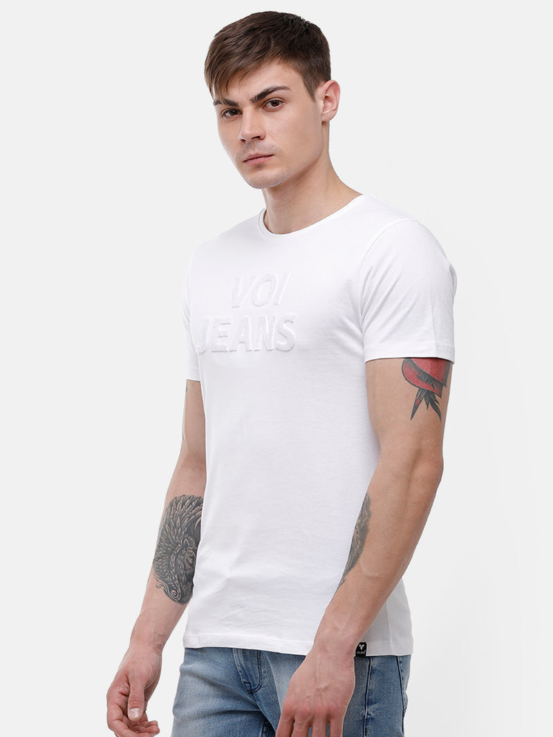 Men's White chest embroidery T-shirt