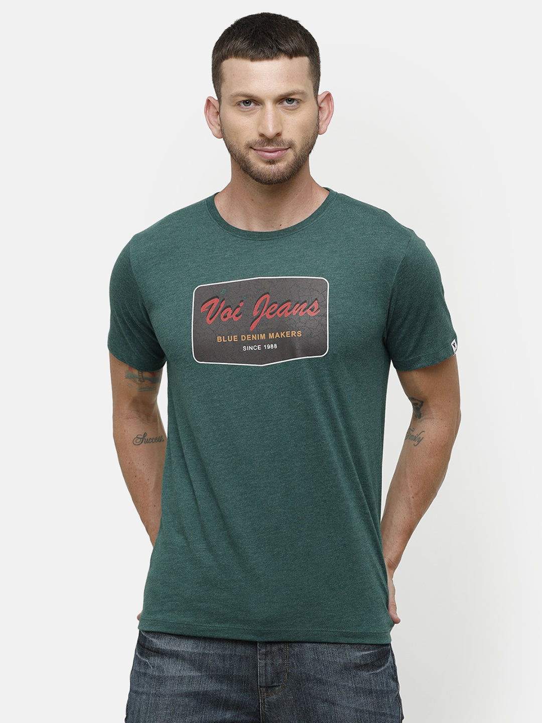 Men's Green graphic print half sleeve T-shirt