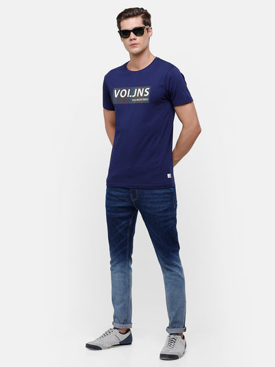 Men's Navy Blue T-shirt with Reflective chest patch