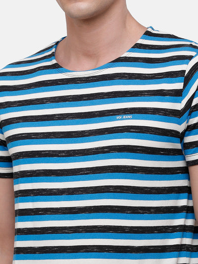 Men's Blue & white T-Shirt with orange patch detail at hem