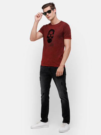 Men's Maroon T-Shirt with Felt detail Chest Print