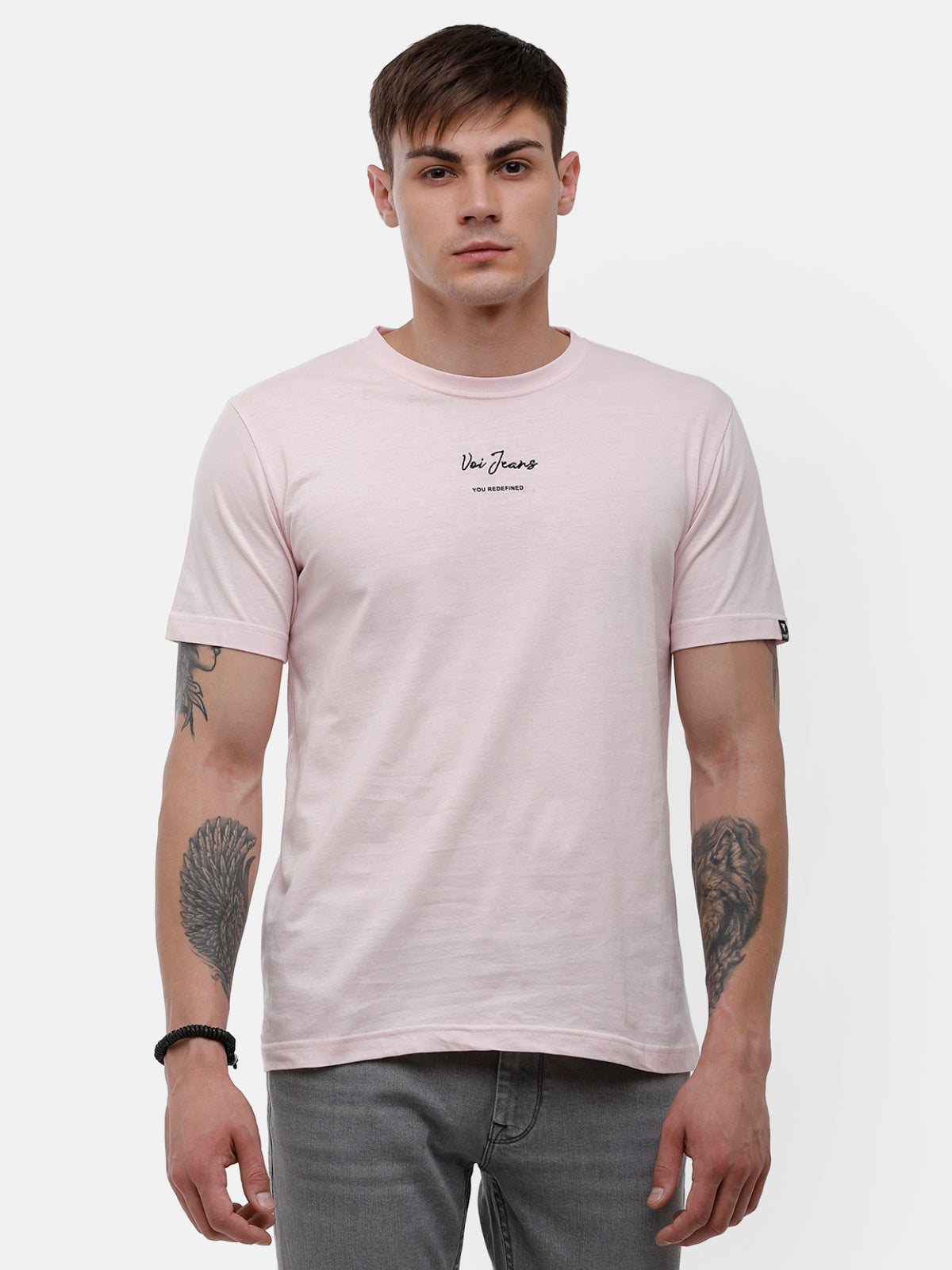 Men's Light pink half sleeve, chest embroidery  T-shirt
