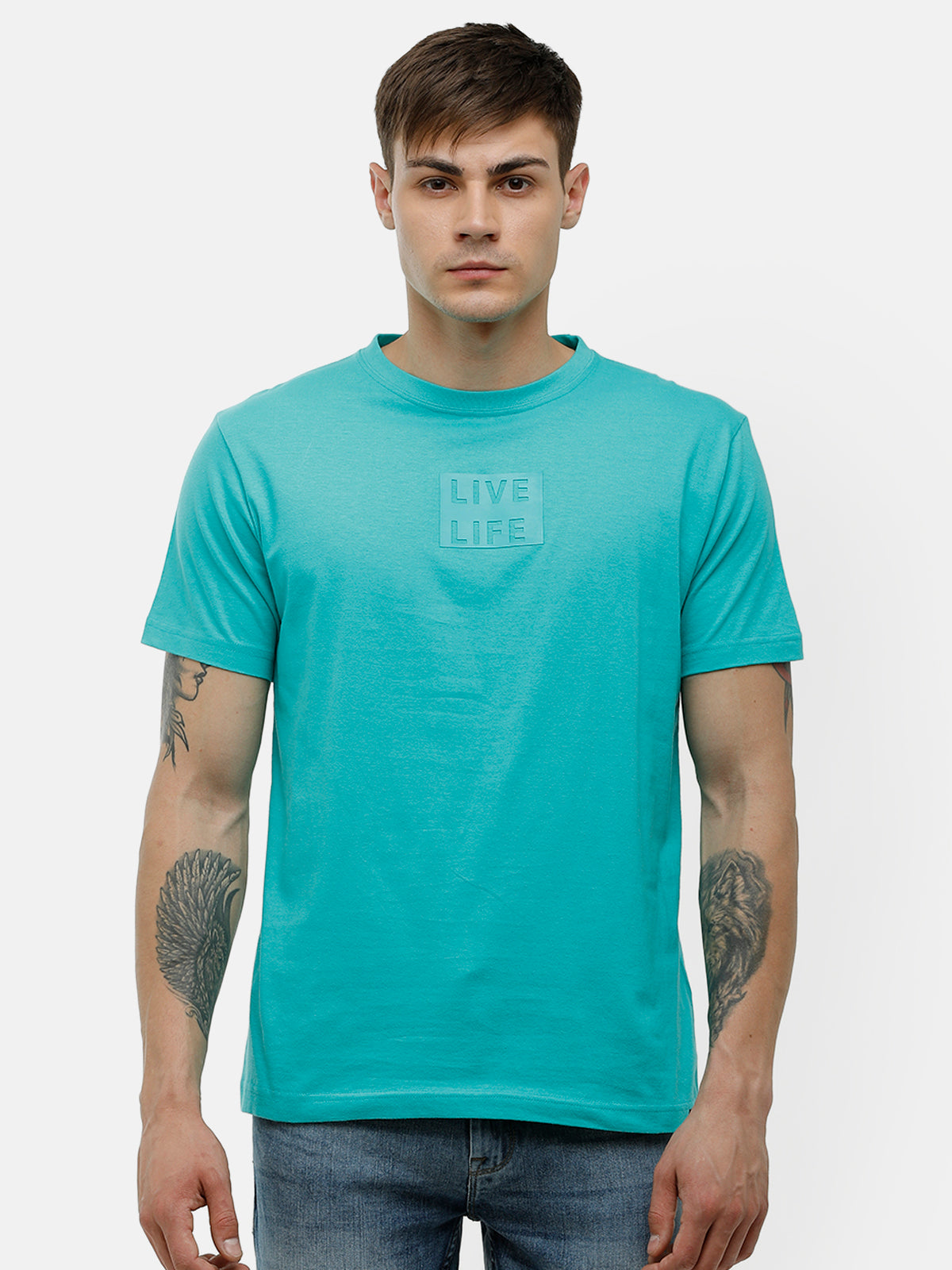 Men's Aqua green half sleeve chest  print T-shirt